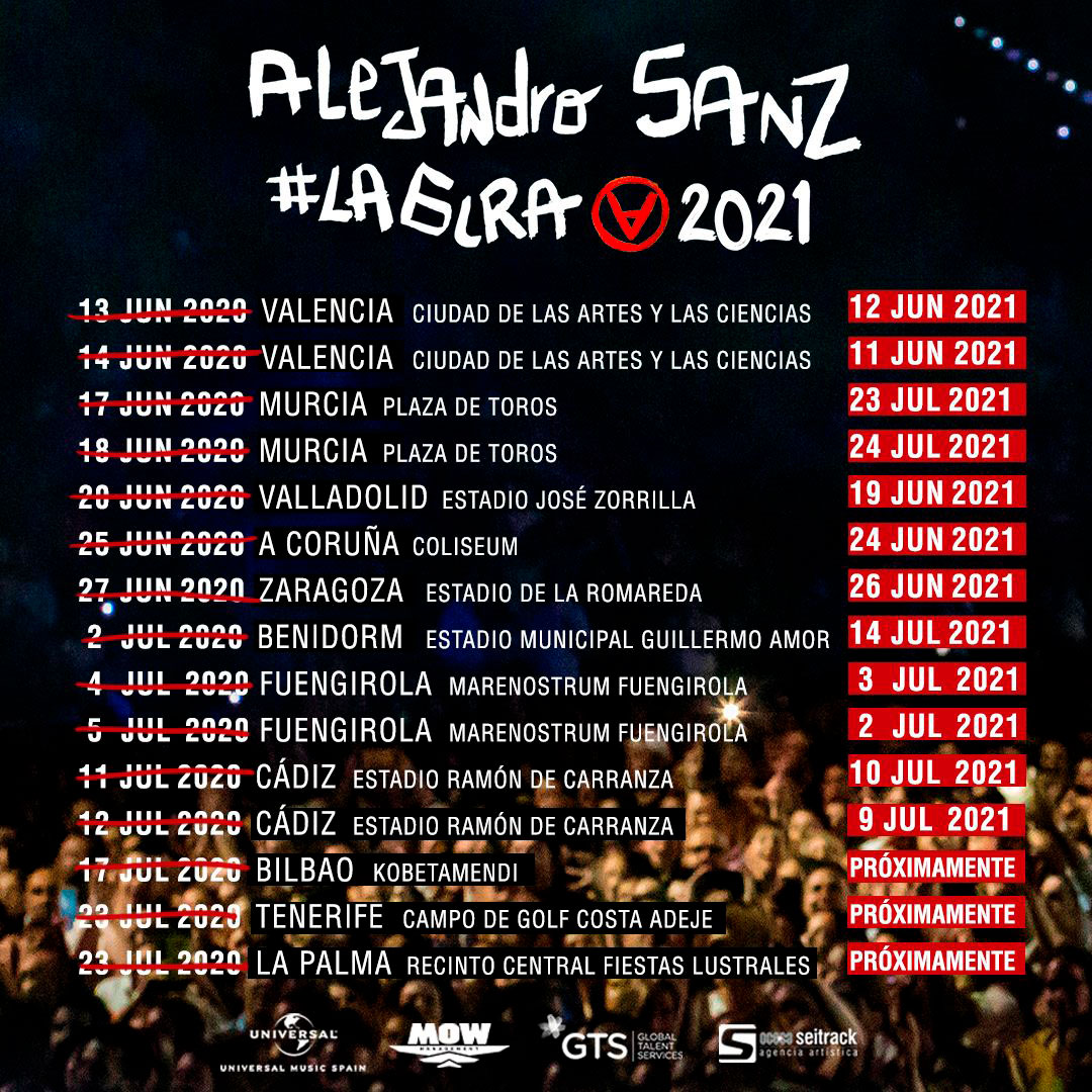 Cambio de fechas de #LaGira de Alejandro Sanz en España